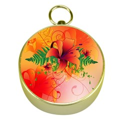 Awesome Red Flowers With Leaves Gold Compasses