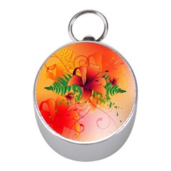 Awesome Red Flowers With Leaves Mini Silver Compasses