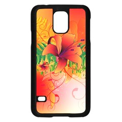 Awesome Red Flowers With Leaves Samsung Galaxy S5 Case (Black)