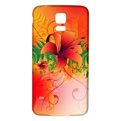 Awesome Red Flowers With Leaves Samsung Galaxy S5 Back Case (White)