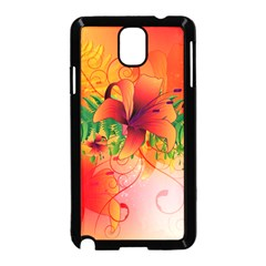 Awesome Red Flowers With Leaves Samsung Galaxy Note 3 Neo Hardshell Case (Black)
