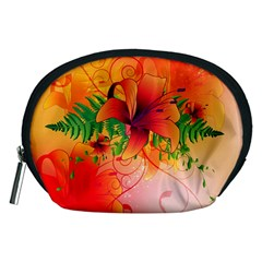 Awesome Red Flowers With Leaves Accessory Pouches (Medium)