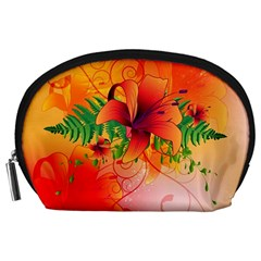 Awesome Red Flowers With Leaves Accessory Pouches (Large)