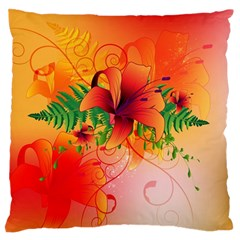 Awesome Red Flowers With Leaves Standard Flano Cushion Cases (Two Sides)