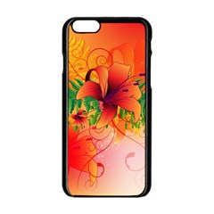 Awesome Red Flowers With Leaves Apple iPhone 6/6S Black Enamel Case
