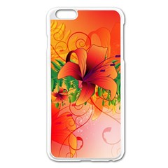 Awesome Red Flowers With Leaves Apple Iphone 6 Plus/6s Plus Enamel White Case