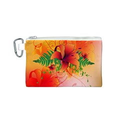 Awesome Red Flowers With Leaves Canvas Cosmetic Bag (S)