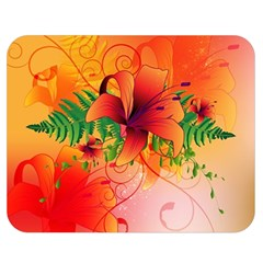 Awesome Red Flowers With Leaves Double Sided Flano Blanket (medium)