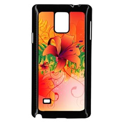 Awesome Red Flowers With Leaves Samsung Galaxy Note 4 Case (Black)