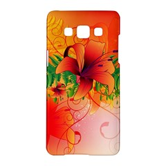 Awesome Red Flowers With Leaves Samsung Galaxy A5 Hardshell Case