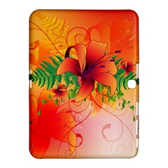Awesome Red Flowers With Leaves Samsung Galaxy Tab 4 (10.1 ) Hardshell Case