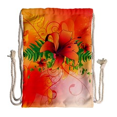 Awesome Red Flowers With Leaves Drawstring Bag (Large)