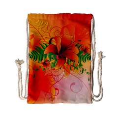 Awesome Red Flowers With Leaves Drawstring Bag (Small)