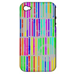 Colorful vintage stripes Apple iPhone 4/4S Hardshell Case (PC+Silicone)