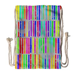 Colorful vintage stripes Large Drawstring Bag