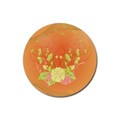 Beautiful Flowers In Soft Colors Rubber Round Coaster (4 pack)