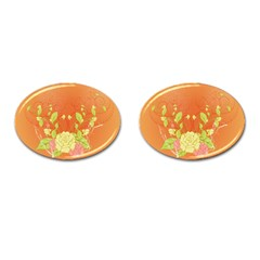 Beautiful Flowers In Soft Colors Cufflinks (Oval)