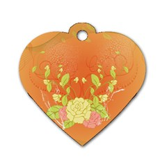 Beautiful Flowers In Soft Colors Dog Tag Heart (two Sides)