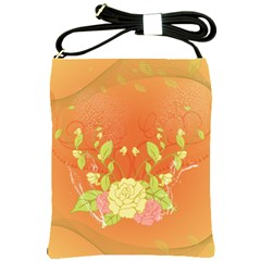 Beautiful Flowers In Soft Colors Shoulder Sling Bags