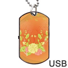 Beautiful Flowers In Soft Colors Dog Tag USB Flash (One Side)