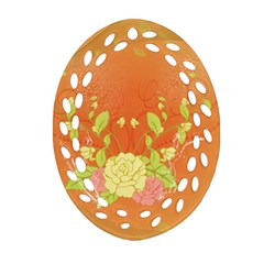 Beautiful Flowers In Soft Colors Ornament (Oval Filigree)