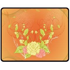 Beautiful Flowers In Soft Colors Double Sided Fleece Blanket (Medium)