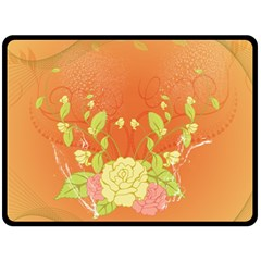 Beautiful Flowers In Soft Colors Double Sided Fleece Blanket (large)
