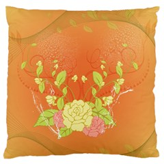 Beautiful Flowers In Soft Colors Large Flano Cushion Cases (One Side)