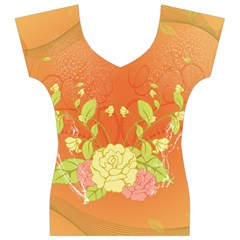 Beautiful Flowers In Soft Colors Women s V-Neck Cap Sleeve Top