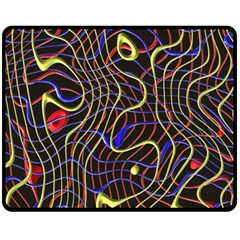 Ribbon Chaos 2 Black  Double Sided Fleece Blanket (Medium)