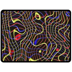Ribbon Chaos 2 Black  Double Sided Fleece Blanket (large)