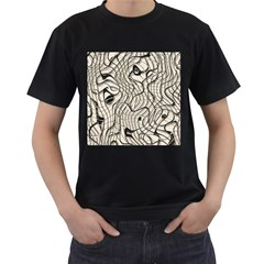 Ribbon Chaos 2  Men s T-Shirt (Black) (Two Sided)