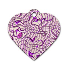 Ribbon Chaos 2 Lilac Dog Tag Heart (one Side)