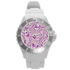 Ribbon Chaos 2 Lilac Round Plastic Sport Watch (L)