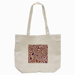 Ribbon Chaos 2 Red Blue Tote Bag (cream)