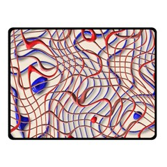 Ribbon Chaos 2 Red Blue Fleece Blanket (small)