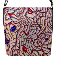 Ribbon Chaos 2 Red Blue Flap Messenger Bag (S)