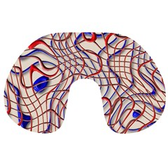Ribbon Chaos 2 Red Blue Travel Neck Pillows