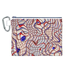 Ribbon Chaos 2 Red Blue Canvas Cosmetic Bag (L)