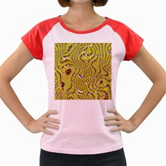 Ribbon Chaos 2 Yellow Women s Cap Sleeve T-Shirt