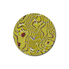 Ribbon Chaos 2 Yellow Rubber Round Coaster (4 pack)