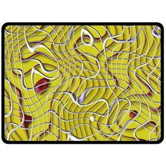 Ribbon Chaos 2 Yellow Fleece Blanket (large)