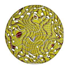Ribbon Chaos 2 Yellow Ornament (round Filigree)