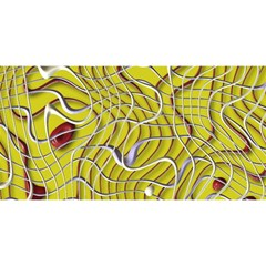 Ribbon Chaos 2 Yellow YOU ARE INVITED 3D Greeting Card (8x4)