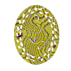 Ribbon Chaos 2 Yellow Oval Filigree Ornament (2 Side)