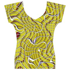 Ribbon Chaos 2 Yellow Women s V-Neck Cap Sleeve Top
