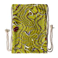 Ribbon Chaos 2 Yellow Drawstring Bag (Large)