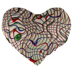 Ribbon Chaos 2 Large 19  Premium Flano Heart Shape Cushions
