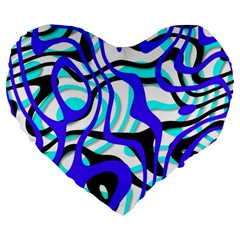 Ribbon Chaos Ocean Large 19  Premium Heart Shape Cushions