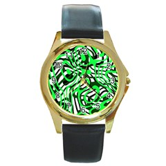Ribbon Chaos Green Round Gold Metal Watches